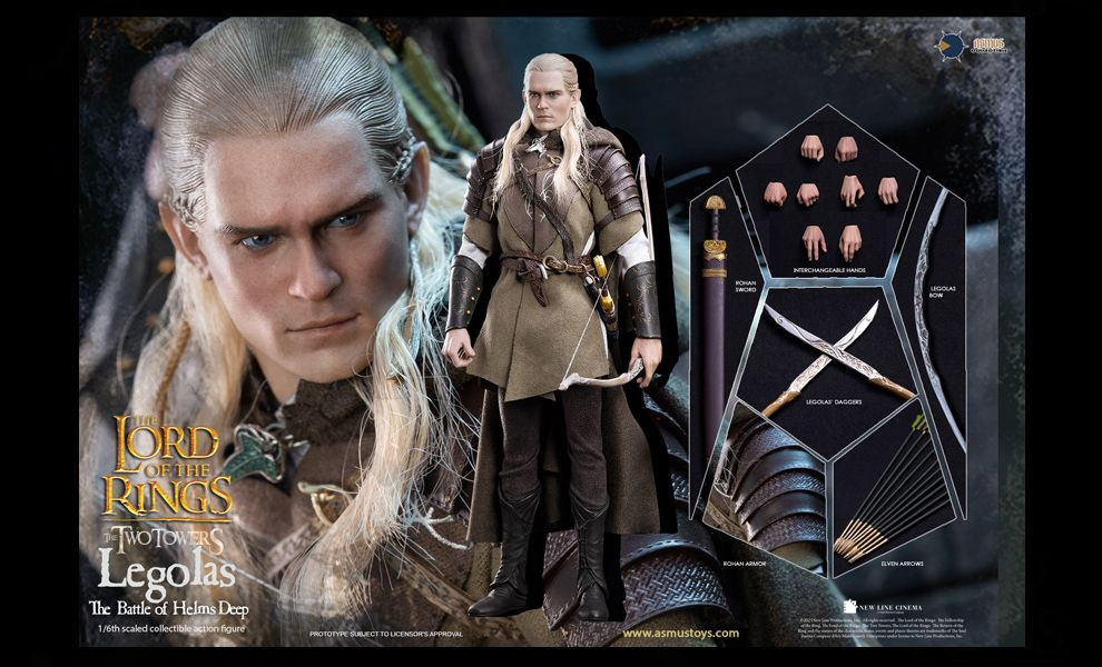 Asmus Toys LOTR029 Legolas at Helm's Deep Lord of the Rings The Two Towers Action Figure Banner