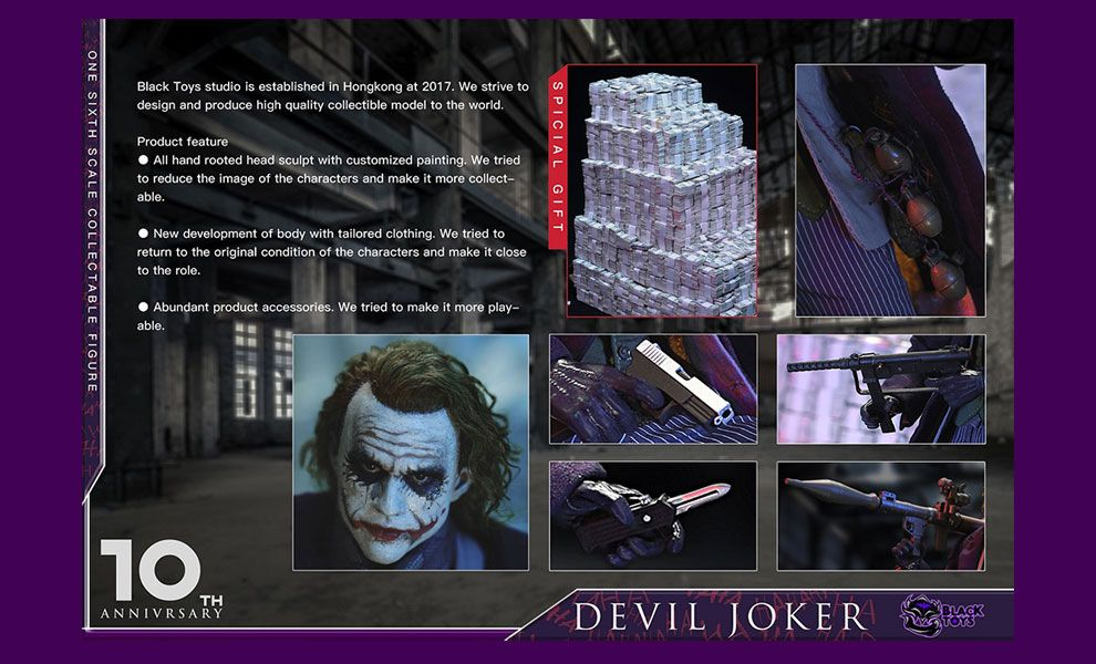 Black Toys BT101 DEVIL JOKER WITH Dollar heap Batman The Dark Knight