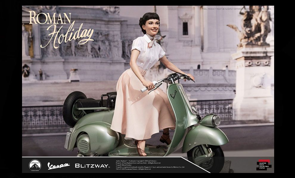 Blitzway Roman Holiday Statue  Princess Ann Audrey Hepburn & 1951 Vespa 125  Statue Vacanze romane Banner