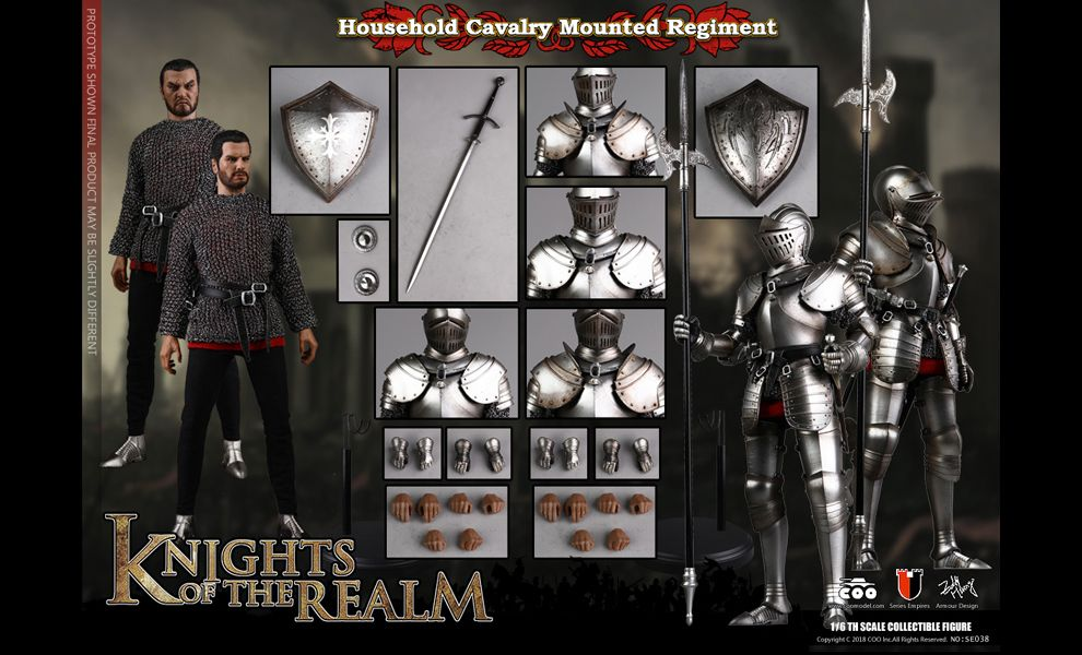 COOMODEL SE038 DIE-CAST ALLOY SERIES OF EMPIRES KNIGHTS OF THE REALM HOUSEHOLD CAVALRY MOUNTED REGIMENT DOUBLE FIGURE SET