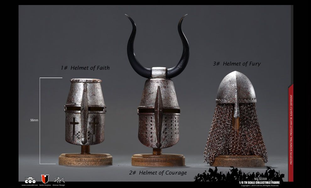 COOMODEL SE059 SERIES OF EMPIRES DIE-CAST ALLOY Jihad Helmets Three Helmets Suit Banner