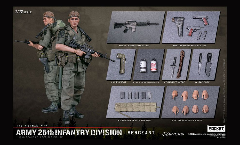 DAMTOYS-PES005-POCKET-ELITE-SERIES-1/12-ARMY-25th-Infantry-Division-Private-SERGEANT