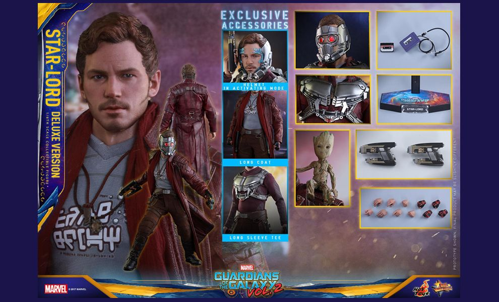 HOT TOYS MMS421 GUARDIANS OF THE GALAXY VOL.2 STAR LORD DELUXE VERSION EXCLUSIVE ACCESSORIES