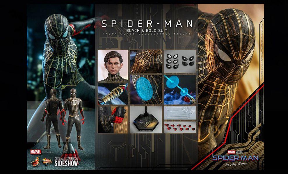 HOT TOYS MMS604 SPIDER-MAN NO WAY HOME SPIDER-MAN BLACK & GOLD SUIT BANNER
