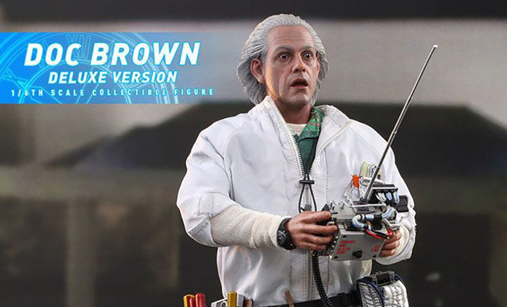 HOT TOYS MMS610 DOC BROWN DELUXE VERSION BACK TO THE FUTURE BANNER