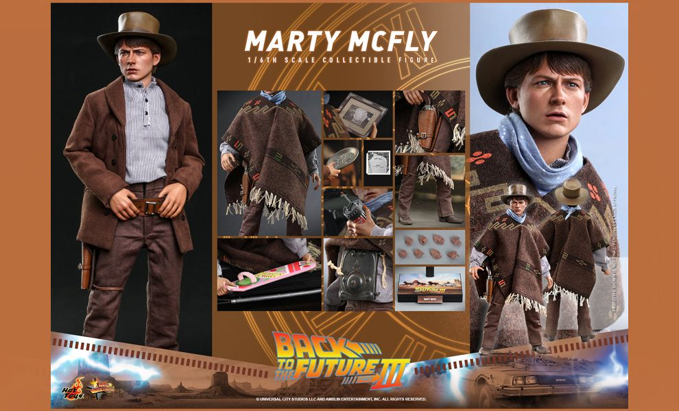 HOT TOYS MMS616 MARTY MCFLY BACK TO THE FUTURE PART III ACTION FIGURE BANNER