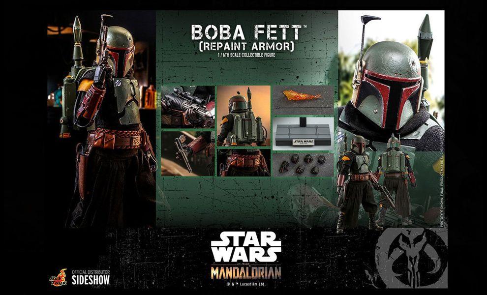 HOT TOYS TMS055 BOBA FETT REPAINT ARMOR STAR WARS THE MANDALORIAN BANNER