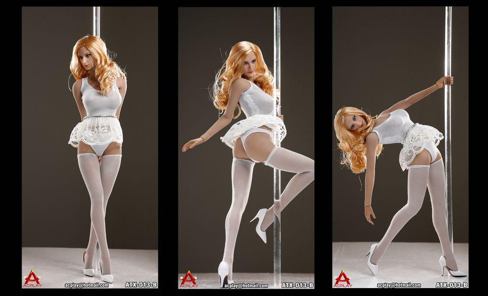 ACPLAY ATX013B STEEL SEXY DANCERS TUTU SUIT IN WHITE