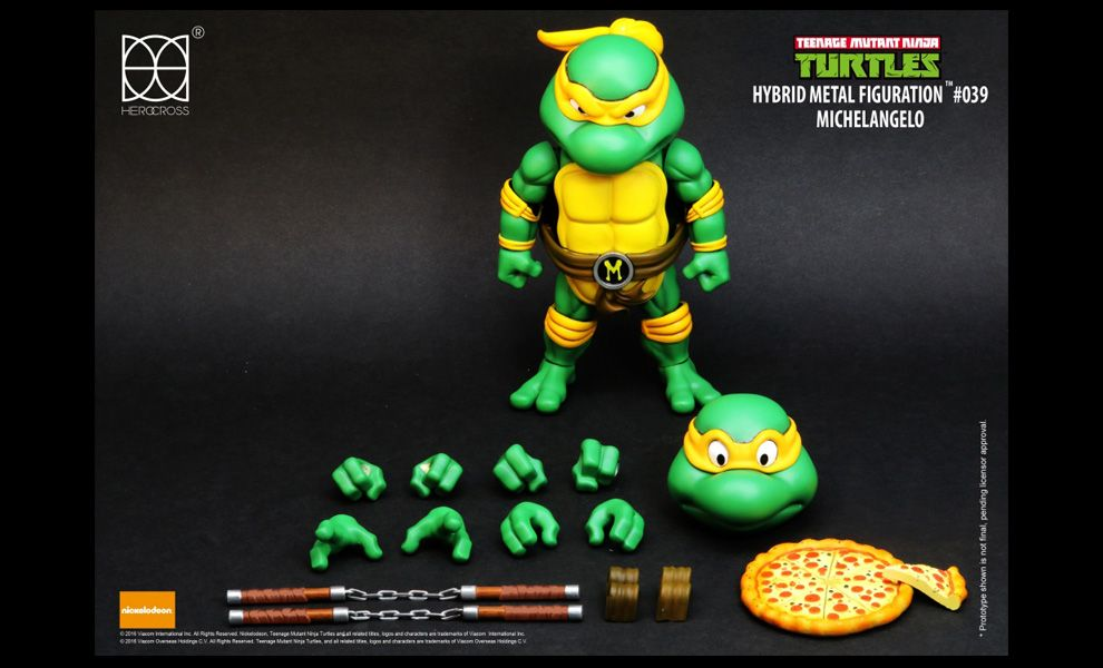 HEROCROSS TEENAGE MUTANT NINJA TURTLES HYBRID METAL FIGURATION #039 MICHELANGELO