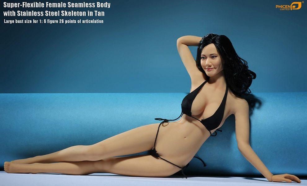 PHICEN PLLB2014-S08 SUPER FLEXIBLE FEMALE SEAMLESS BODY STEEL WITH STAINLESS STEEL SKELETON IN TAN