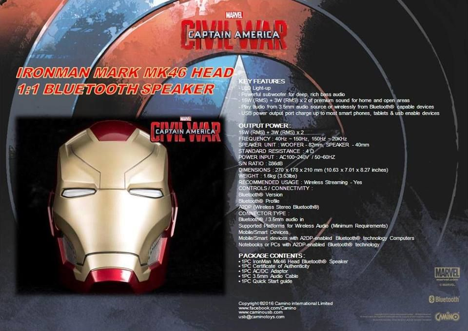 I-SMART CAPTAIN AMERICA CIVIL WAR IRON MAN MARK 46 HEAD 1/1 BLUETOOTH SPEAKER