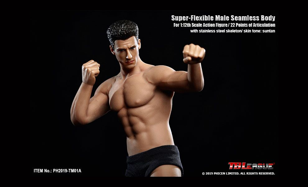 TBLeague PH2019-TM01A 1/12th Scale Super Flexible Male Seamless Body Including head Banner