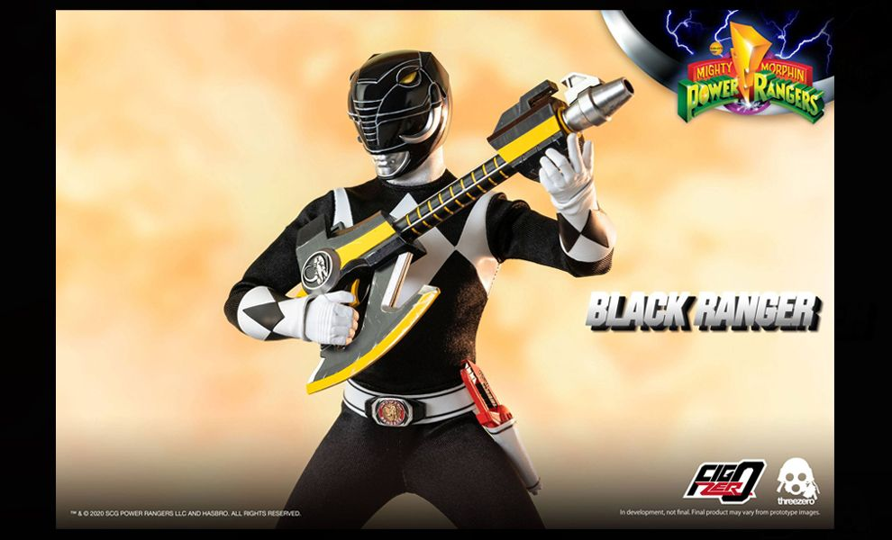Threezero 3Z0197 Mighty Morphin Power Rangers FigZero Black Ranger Banner