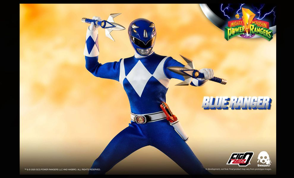 Threezero 3Z0199 Mighty Morphin Power Rangers FigZero Blue Ranger Banner