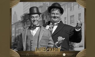 BIG CHIEF STUDIOS LAUREL & HARDY 2-PACK CLASSIC SUITS LIMITED EDITION STANLIO E OLLIO BANNER