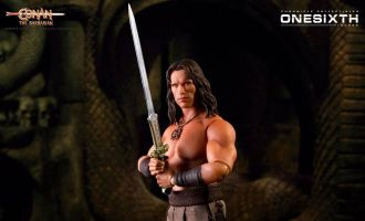 Chronicle Collectibles Conan the Barbarian Action Figure 1/6 Conan Arnold Schwarzenegger Banner