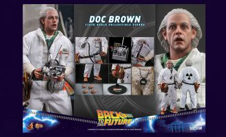 HOT TOYS MMS610 DOC BROWN BACK TO THE FUTURE BANNER