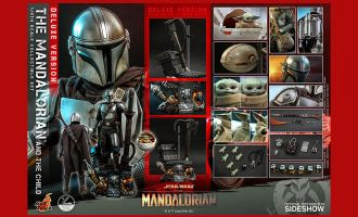 Hot Toys QS017 Star Wars The Mandalorian Action Figure 2-Pack 1/4 The Mandalorian & The Child Deluxe Banner