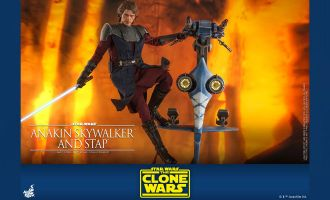 Hot Toys TMS020 Star Wars The Clone Wars Anakin Skywalker and STAP Banner banner