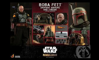 HOT TOYS TMS056 BOBA FETT REPAINT ARMOR AND THRONE STAR WARS THE MANDALORIAN BANNER