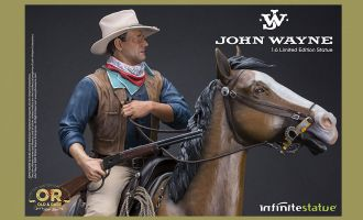 INFINITE STATUE JOHN WAYNE ON HORSE OLD & RARE RESIN 1/6 STATUE BANNER