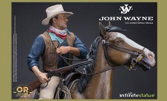 INFINITE STATUE JOHN WAYNE ON HORSE OLD & RARE RESIN 1/6 STATUE BANNER