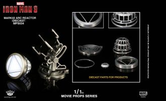 KING ARTS MPS034 MOVIE PROPS SERIES IRON MAN 3 MARK 42 ARC REACTOR DIE CAST