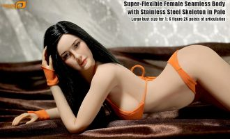 PHICEN PLLB2014-S07 SUPER FLEXIBLE FEMALE SEAMLESS BODY WITH STAINLESS STEEL SKELETON IN PALE LARGE BUST