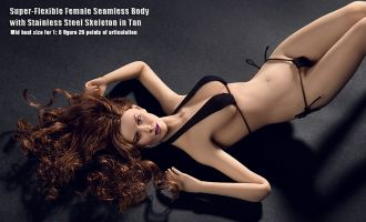 PHICEN PLMB2014-S02 SUPER FLEXIBLE FEMALE SEAMLESS BODY WITH STAINLESS STEEL SKELETON IN TAN