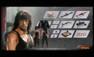 RAMTOYS RT01B 1/4 Blood Warrior Rambo Special Edition Sylvester Stallone Banner