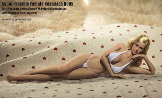TBLeague PLMB2014-S06 SUPER FLEXIBLE FEMALE SEAMLESS BODY WITH STAINLESS STEEL SKELETON IN TAN BIG BUST SIZE