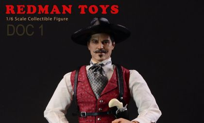 REDMAN TOYS RM052 DOC HOLLIDAY ACTION FIGURE 1/6 TOMBSTONE DOC 1 THE COWBOY BANNER