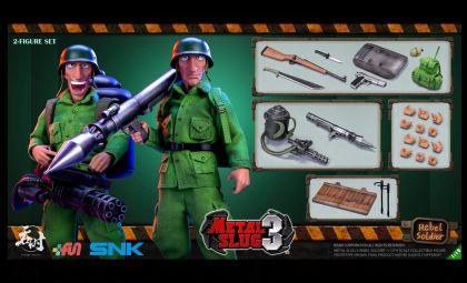 TUNSHI STUDIO METAL SLUG III REBEL SOLDIER 2 FIGURE SET 1/12 SNK BANNER